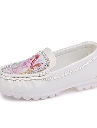 cheap -Girls' Shoes PU Spring Summer Comfort Flats Rhinestone for Casual Dress White Beige Pink
