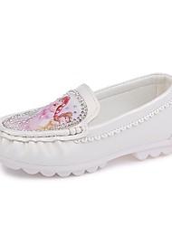 Недорогие -Девочки обувь Полиуретан Весна Лето Удобная обувь На плокой подошве Стразы для Повседневные Для праздника Белый Бежевый Розовый