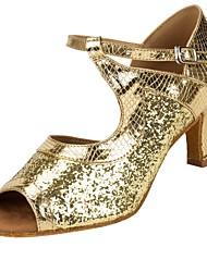 للمرأة لاتيني بريّق تول جلد ظبي صندل كعب متخصص ربط كعب مخصص ذهبي مخصص