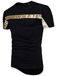 cheap -Men's Business Cotton T-shirt - Color Block, Sequins Round Neck