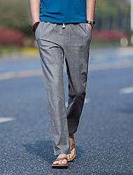 cheap -Men's Cotton Linen Harem Pants - Solid Colored