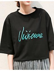 abordables -T-shirt femme rue chic printemps été t-shirt col rond manches courtes polyester