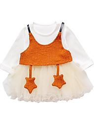 abordables -Robe Fille de Soirée Sortie Couleur Pleine Polyester Printemps Manches Longues simple Marron Rose Claire Jaune
