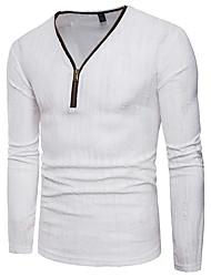 abordables -Hombre Camiseta, Escote en Pico Delgado Un Color Algodón