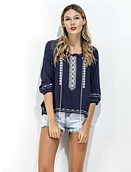 voordelige -Dames Eenvoudig T-shirt - Effen, Jacquard Ronde hals