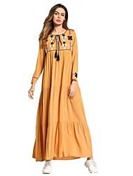 abordables -Femme énorme Ample Robe - Basique Brodée, Fleur Couleur Pleine Maxi
