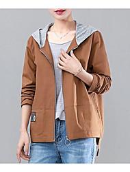 baratos -Mulheres Jaqueta Vintage - Sólido Pregueado