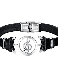 cheap -Men's Leather Cool Music Notes Bracelet - Casual Black Bracelet For Daily Date