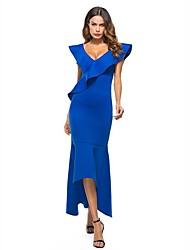 abordables -Femme Sophistiqué Chic de Rue Mince Trompette / Sirène Robe - A Volants, Couleur Pleine Col en V Asymétrique Bleu
