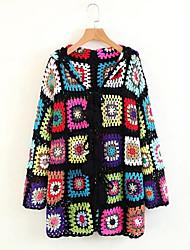 billige -V-hals Dame Geometrisk Vintage Frakke / Forår