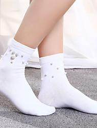 cheap -1 Pair Women's Socks Standard Solid Colored Leg Shaping Sweet Style Cotton In-tube EU36-EU42