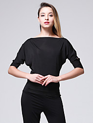cheap -Latin Dance Tops Women's Training Performance Chinlon Split Joint 3/4 Length Sleeves Natural Top