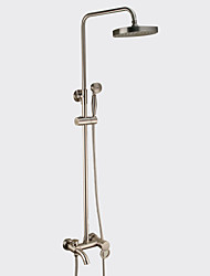 cheap -Antique Centerset Waterfall Rain Shower Handshower Included Pullout Spray Rotatable Ceramic Valve Single Handle Two Holes Nickel Brushed,