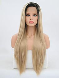 Недорогие -Синтетические кружевные передние парики Прямой Искусственные волосы Блондинка Парик Жен. Длинные Парик из натуральных волос Лента спереди