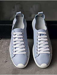 cheap -Men's Nappa Leather / Cowhide Spring / Fall Comfort Sneakers Black / Light Blue