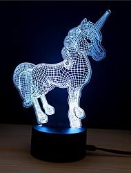 Недорогие -1 комплект Unicorn LED Night Light / 3D ночной свет Поменять DC Powered / USB Меняет цвета / Креатив / Украшение 5 V