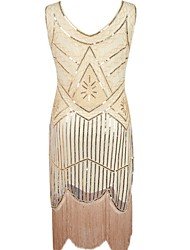 cheap -The Great Gatsby 1920s / The Great Gatsby Costume Women's Flapper Headband Black / Golden / Red Vintage Cosplay Polyester Sleeveless Halloween Costumes / Sequins