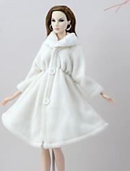 Недорогие -Плащи Пальто Для Кукла Барби Белый Фланель Флис Пальто Для Девичий игрушки куклы