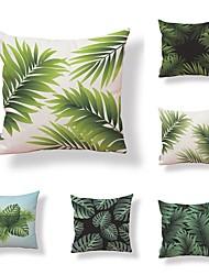 6 Stk. Tekstil Bomuld/Linned Pudebetræk, Træer / Blade Trykt mønster Art Deco Mønster Tropisk