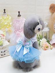 Недорогие -Собаки Платья Одежда для собак Контрастных цветов Зеленый Синий Розовый Хлопок/полиэфир Полиэстер/хлопок Костюм Для домашних животных