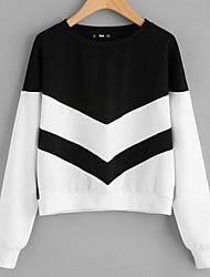 billige -Dame Plusstørrelser Sweatshirt - Farveblok, Krøllede Folder Bomuld