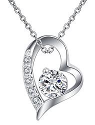 cheap -Women's Flower Heart Cubic Zirconia Rhinestone Silver Plated Austria Crystal Choker Necklace Pendant Necklace  -  Simple Classic Elegant