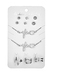 cheap -Women's Rhinestone Jewelry Set 1 Necklace 1 Bracelet 3 Pairs of Earrings 3 Rings - Sexy Cool Circle Music Notes Gold Silver Chain