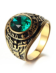 preiswerte -Herrn Statement-Ring Strass Rot Blau Goldenschwarz Gold/Blau Gold-Wein Rostfrei Kreisform Freizeit Cool Alltag Strasse Modeschmuck