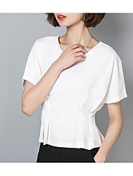 abordables -Mujer Básico Plisado Camisa Un Color