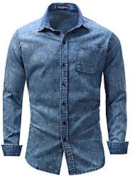 cheap -Men's Weekend Business Cotton Shirt - Solid, Denim