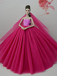 abordables -Robes Robe Pour Poupée Barbie Rouge Foncé Tulle Dentelle Mélange soie/coton Robe Pour Fille de Jouets DIY
