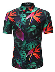 cheap -Men's Beach Street chic Boho Plus Size Cotton Shirt - Color Block, Print