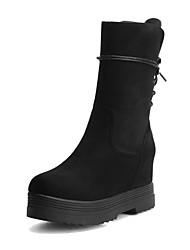 baratos -Mulheres Sapatos Courino Inverno Coturnos Botas Creepers Ponta Redonda Botas Cano Médio para Preto