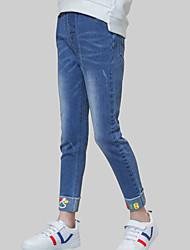 baratos -Para Meninas Jeans Diário Estampado Primavera Outono Raiom Manga Longa Casual Azul