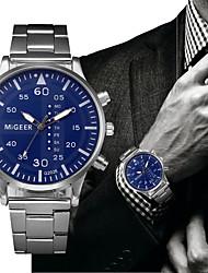 economico -Per uomo Quarzo Orologio elegante Orologio alla moda Cinese Cronografo Acciaio inossidabile Banda Elegant Di tendenza Nero Argento