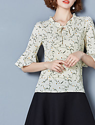 cheap -Women's Going out Cute Loose Blouse - Floral