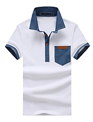 cheap -Men's Work Business Street chic Cotton Slim Polo - Geometric Color Block, Patchwork Shirt Collar