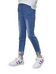cheap -Girls' Daily Solid Print Jeans, Cotton Polyester Spring Fall Sleeveless Simple Casual Blue