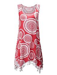 cheap -Women's Street chic Cotton T-shirt - Polka Dot, Tassel Print