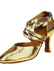 للمرأة عصري جلد ظبي صندل كعب متخصص كعب مخصص ذهبي مخصص