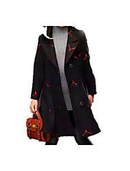 preiswerte -Mädchen Jacke & Mantel Alltag Schultaschen Blumen Druck Kaschmir Baumwolle Winter Frühling Langarm Einfach Retro Schwarz Rote