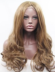 abordables -Peluca Lace Front Sintéticas Ondulado Natural Pelo sintético Peluca afroamericana Marrón Peluca Mujer Larga Encaje Completo / Encaje Frontal