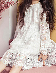 cheap -Kids Girls' Sweet White Solid Colored Lace Long Sleeve Dress / Cotton