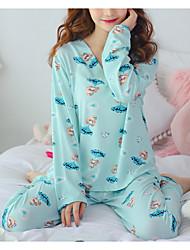 abordables -Mujer Escote en U Traje Pijamas Geométrico