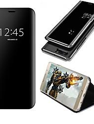 Недорогие -Кейс для Назначение Huawei P10 Plus P10 Lite со стендом Зеркальная поверхность Флип Авто Режим сна / Пробуждение Чехол Сплошной цвет