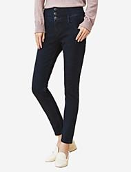 economico -pantaloni chino micro elasticizzati da donna di media altezza, semplici in cotone solido per tutte le stagioni