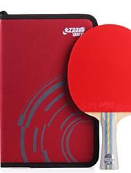 baratos -DHS® E602 Ping Pang/Tabela raquetes de tênis Madeira Borracha 6 Estrelas Cabo Comprido Espinhas
