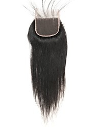 cheap -Laflare Peruvian Straight 4x4 Closure With Baby Hair Weft Swiss Lace Remy Free Part Middle Part 3 Part Silky New Arrival