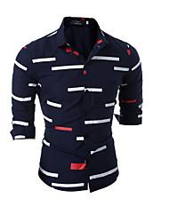 economico -Camicia Per uomo A strisce Colletto classico