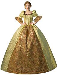 abordables -Princesse / Conte de Fée Renaissance Costume Femme Robes / Tenue / Costume de Soirée Jaune doré Vintage Cosplay Polyester Manches 3/4 Gigot / Ballon Déguisement d'Halloween